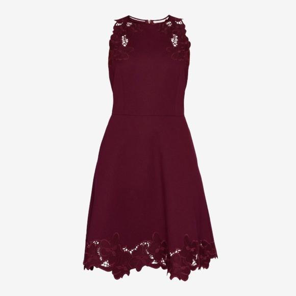 a91ec6c69f57cd Ted Baker Burgundy Embroidered Skater Dress Size 1